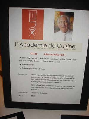 silent auction item descriptions Julie & Julia