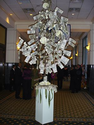 charity auction themes banking - money tree