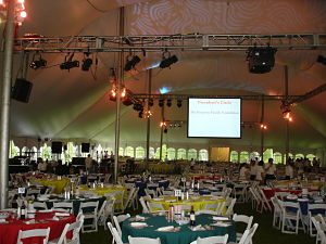 This gala of ~900 used a tent with sides that offered windows. The sides helped contain the sound while allowing guests to feel outside. Note the rigging.