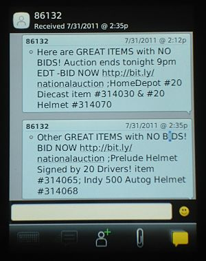 QTEGO text bidding on Blackberry