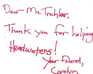 Headwaters Foundation 2012 thank you letter back