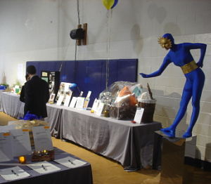 Living statues blue unitard