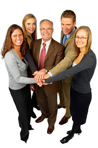 Team of people working together