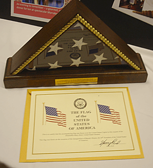 """At the request of Senate Majority Leader Harry Reid, this flag was flown over the United States Capitol on January 20, 2009 on the occasion of the inauguration of Barack Obama as the 44th President of the United States of America."""