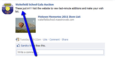 Charity auction items advertised last minute on Facebook wakefield