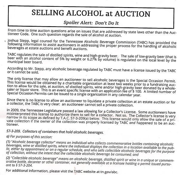 Tennessee Auctioneers Association selling liquor newsletter 001_opt