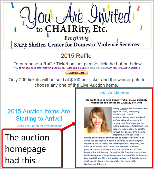 The client put this blurb on their auction homepage