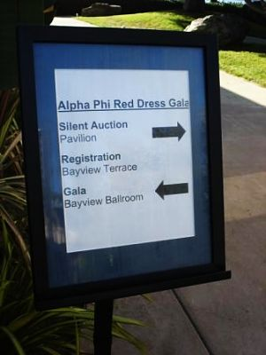 charity auction - Alpha Phi of San Diego sign