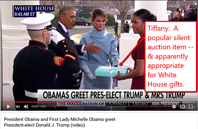 CNN video clip of Melania Trump giving Michelle Obama a Tiffany gift