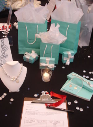 silent auction table display Tiffany