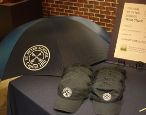 school auction items branded merchandise hats umbrellas