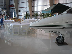 Fundraising auction venue - hangar learjet