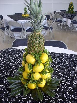school auction centerpiece ideas - lemons and pineapple