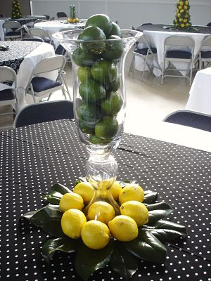 school auction centerpiece ideas - limes and lemons
