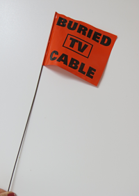 Cable TV orange construction flag