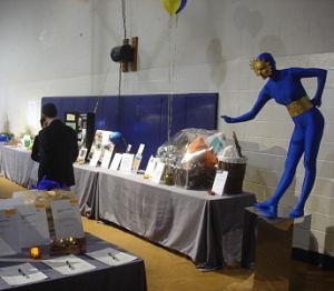 Living statues blue unitard