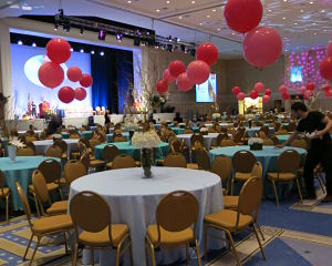 Benefit auction decor - big balloons