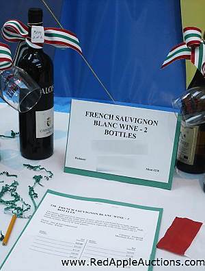 Silent auction item display wine