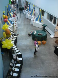 Silent auction area from overhead