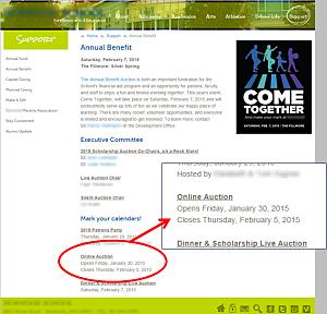 Online school auction promotion