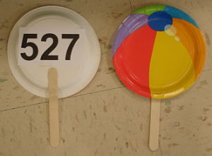 Bid paddles on beach theme