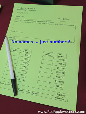 Silent auction bid sheet numbers versus names