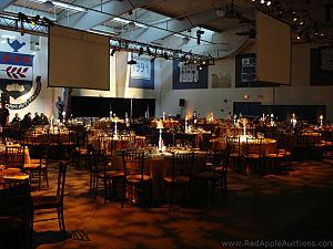 Lighting gave the ballroom/gym ambiance.