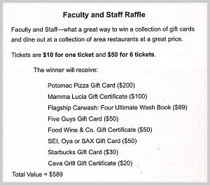Faculty Raffle in auction catalog