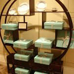 An attractive display for a bad live auction item: Tiffany dishes