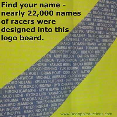 Names of the nearly 22,000 racers were embedded into the logo's design. Racers would seek out their name to take a photo.