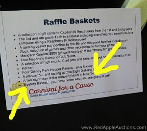 new idea for silent auctions. Surprise Boxes or Mystery Basket tent card in bucket raffle