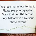 Reminder cards for photography at gala auctions