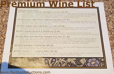 Upgraded wine list at fundraising gala