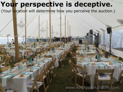 Different perspectives from the benefit auction room
