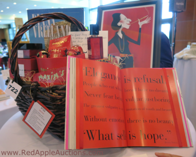Diana Vreeland-inspired basket at luncheon auction