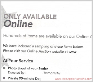 Online fundraising auction promo in school auction catalog