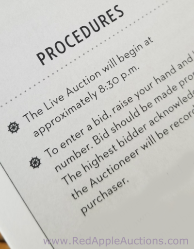 auction rules listed as procedures