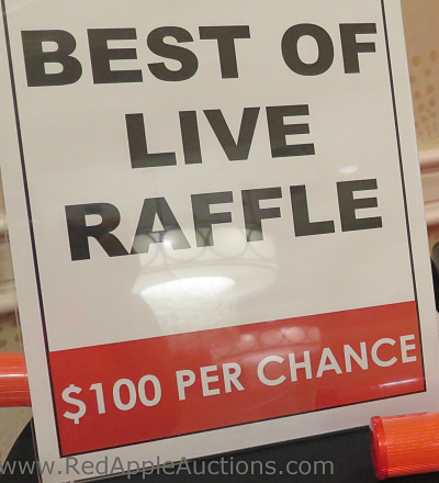 School auction best of live raffle sign