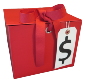 Red Box with bow and dollar sign for The Virtual Gala Fundraiser in a Box program